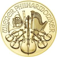 reverse of 4 Euro - Vienna Philharmonic (2014) coin with KM# 3226 from Austria. Inscription: WIENER PHILARMONIKER
