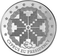 reverse of 5 Euro - Cyprus Presidency of the Council of the EU (2012) coin with KM# 98 from Cyprus. Inscription: € 5 CYPRUS EU PRESIDENCY