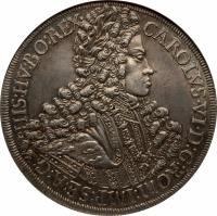 obverse of 1 Taler - Karl VI - Hall mint (1713 - 1714) coin with KM# 1552 from Austria. Inscription: CAROLVS · VI · D: G: ROM: IMP: SE: A: G: HIS: HV: BO: REX ·