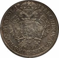 reverse of 1 Taler - Karl VI - Hall mint (1713 - 1714) coin with KM# 1552 from Austria. Inscription: ARCHIDUX · AVSTRIÆ · DUX · BVRG: COM: TYROL: