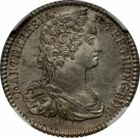 obverse of 6 Kreuzer - Maria Theresa - Hall mint (1742 - 1746) coin with KM# 1692 from Austria. Inscription: MAR.THERESIA D:G REG.HUNG.BOH