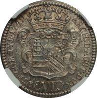 reverse of 6 Kreuzer - Maria Theresa - Hall mint (1742 - 1746) coin with KM# 1692 from Austria. Inscription: ARCHID.AUST.DUX BUR.COM.TYR.1742 (VI)
