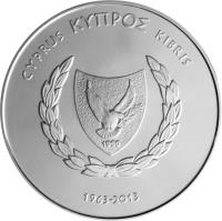obverse of 5 Euro - 50th Anniversary of the Central Bank of Cyprus (2013) coin from Cyprus. Inscription: ΚΥΠΡΟΣ CYPRUS KIBRIS 1963 - 2013