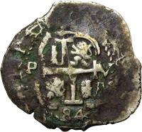 obverse of 2 Reales - Carlos II (1667 - 1700) coin with KM# 24 from Bolivia.