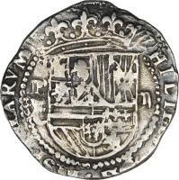 obverse of 2 Reales - Felipe II (1574 - 1579) coin with KM# 3 from Bolivia.