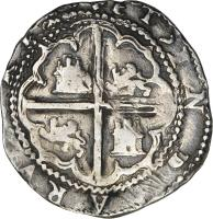 reverse of 2 Reales - Felipe II (1574 - 1579) coin with KM# 3 from Bolivia.