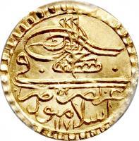 obverse of 1/2 Zari Maḥbūb - Mustafa III (1766 - 1774) coin with KM# 328 from Ottoman Empire.