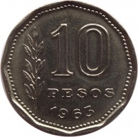 reverse of 10 Pesos (1962 - 1968) coin with KM# 60 from Argentina. Inscription: 10 PESOS 1963
