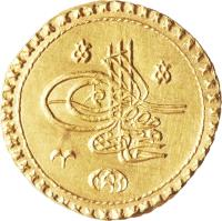 obverse of 1 Zinjirli Altin - Mahmud I (1731) coin with KM# 91 from Ottoman Empire.