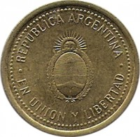 obverse of 10 Centavos - Reeded edge; Non magnetic (1992 - 2006) coin with KM# 107 from Argentina. Inscription: REPUBLICA ARGENTINA . EN UNION Y LIBERTAD .