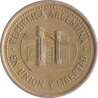 obverse of 50 Centavos (1992 - 2011) coin with KM# 111 from Argentina. Inscription: REPUBLICA ARGENTINA · EN UNION Y LIBERTAD ·