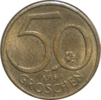 reverse of 50 Groschen (1959 - 2001) coin with KM# 2885 from Austria. Inscription: 50 GROSCHEN 1991