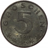 reverse of 5 Groschen (1948 - 1994) coin with KM# 2875 from Austria. Inscription: GROSCHEN 5 1968