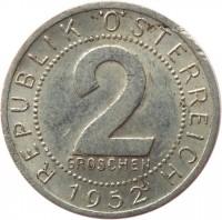 reverse of 2 Groschen (1950 - 1994) coin with KM# 2876 from Austria. Inscription: REPUBLIK ÖSTERREICH 2 GROSCHEN 1952