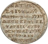 reverse of 1 Groschen - Franz Ludwig - Death of Franz Ludwig (1732) coin with KM# 259 from German States. Inscription: *NATVS* 24IVL.1664 COA.MOG.4.NO.1710 ARCH.EP.ET.EL 7APRIL.1729 DEN.18.AP.1732 AET.67.ANN 8M.25.DI