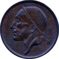 obverse of 20 Centimes - Baudouin I - Dutch text (1954 - 1960) coin with KM# 147 from Belgium. Inscription: RAU