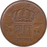 reverse of 20 Centimes - Baudouin I - Dutch text (1954 - 1960) coin with KM# 147 from Belgium. Inscription: 20 CENTIMES BELGIE 19 54