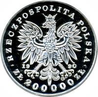 obverse of 200000 Złotych - Tadeusz Kościuszko (1990) coin with Y# 203 from Poland.
