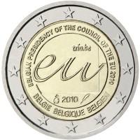 obverse of 2 Euro - Albert II - Belgian Presidency of the EU (2010) coin with KM# 289 from Belgium. Inscription: BELGIAN PRESIDENCY OF THE COUNCIL OF THE EU 2010 trio.be eu 2010 BELGIE BELGIQUE BELGIEN