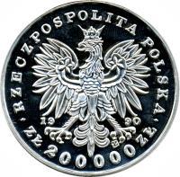 obverse of 200000 Złotych - Marshal Józef Klemens Piłsudski (1990) coin with Y# 204 from Poland.