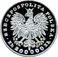 obverse of 200000 Złotych - 180th Anniversary of the Birth of Fryderyk Franciszek Chopin (1990) coin with Y# 205 from Poland.