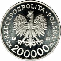 obverse of 200000 Złotych - 200th Anniversary of the Constitution of May 3 (1991) coin with Y# 218 from Poland. Inscription: RZECZPOSPOLITA POLSKA 19 91 ZŁ 200000 ZŁ