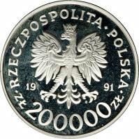obverse of 200000 Złotych - 1992 Winter Olympics, Albertville (1991) coin with Y# 226 from Poland. Inscription: RZECZPOSPOLITA POLSKA 19 91 ZŁ 200000 ZŁ