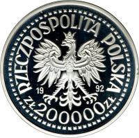 obverse of 200000 Złotych - 500th Anniversary of the Discovery of America (1992) coin with Y# 230 from Poland. Inscription: RZECZPOSPOLITA POLSKA 19 92 ZŁ 200000 ZŁ