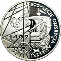 reverse of 200000 Złotych - 500th Anniversary of the Discovery of America (1992) coin with Y# 230 from Poland. Inscription: 500 - LECIE ODKRYCIA AMERYKI 1492