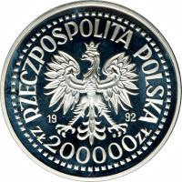 obverse of 200000 Złotych - 1992 EXPO, Seville (1992) coin with Y# 231 from Poland. Inscription: RZECZPOSPOLITA POLSKA 19 92 ZŁ 200000 ZŁ