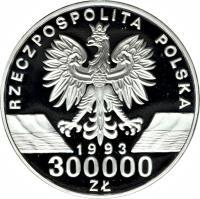 obverse of 300000 Złotych - Environment Protection: Barn Swallow (1993) coin with Y# 248 from Poland. Inscription: RZECZPOSPOLITA POLSKA 1993 300000 ZŁ