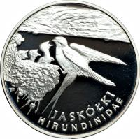 reverse of 300000 Złotych - Environment Protection: Barn Swallow (1993) coin with Y# 248 from Poland. Inscription: JASKOŁKI HIRUNDINIDAE