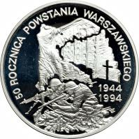 reverse of 300000 Złotych - 50th Anniversary of the Warsaw Uprising (1994) coin with Y# 269 from Poland. Inscription: 50 ROCZNICA POWSTANIA WARSZAWSKIEGO 1944 1994