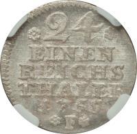 reverse of 1/24 Taler - Friedrich II (1751 - 1763) coin with KM# 263 from German States. Inscription: *24* EINEN REICHS THALER 1755