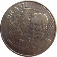 obverse of 25 Centavos (1998 - 2014) coin with KM# 650 from Brazil. Inscription: BRASIL DEODORO