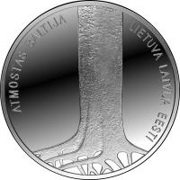 reverse of 5 Euro - 25th Anniversary of the Baltic Way (2014) coin with KM# 161 from Latvia. Inscription: ATMOSTAS BALTIJA LIETUVA LATVIJA EESTI