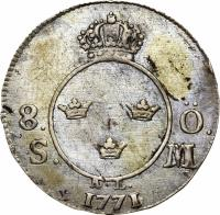 reverse of 8 Ore - Adolf Fredrik (1771) coin with KM# 507 from Sweden. Inscription: 8. Ö. S. M. A.L. 1771
