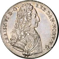 obverse of 1 Riksdaler - Christian VI (1732 - 1733) coin with KM# 539 from Denmark. Inscription: CHRIST · VI · D · G · REX · DAN · NORV · V · G ·