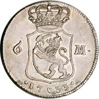 reverse of 1 Riksdaler - Christian VI (1732 - 1733) coin with KM# 539 from Denmark. Inscription: 6 M. .1733.