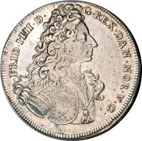 obverse of 1 Riksdaler - Frederik IV (1704) coin with KM# 479 from Denmark. Inscription: FRID.IIII.D.G.REX DAN.NOR.V.G