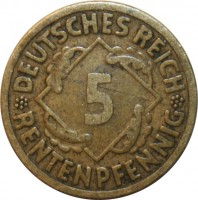 reverse of 5 Rentenpfennig (1923 - 1925) coin with KM# 32 from Germany. Inscription: DEUTSCHES REICH 5 RENTENPFENNIG