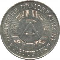 obverse of 1 Mark (1972 - 1990) coin with KM# 35 from Germany. Inscription: DEUTSCHE DEMOKRATISCHE * REPUBLIK *