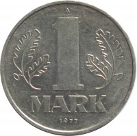 reverse of 1 Mark (1972 - 1990) coin with KM# 35 from Germany. Inscription: A 1 MARK 1977