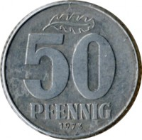 reverse of 50 Pfennig (1958 - 1990) coin with KM# 12 from Germany. Inscription: 50 PFENNIG 1972