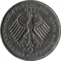 obverse of 2 Deutsche Mark - Kurt Schumacher (1979 - 1993) coin with KM# 149 from Germany. Inscription: BUNDESREPUBLIK DEUTSCHLAND 1990 D 2 DEUTSCHE MARK