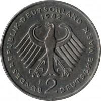 obverse of 2 Deutsche Mark - Kurt Schumacher (1979 - 1993) coin with KM# 149 from Germany. Inscription: BUNDESREPUBLIK DEUTSCHLAND 1990 D 2 DEUTSCHE MARK