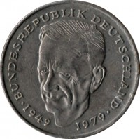 reverse of 2 Deutsche Mark - Kurt Schumacher (1979 - 1993) coin with KM# 149 from Germany. Inscription: BUNDESREPUBLIK DEUTSCHLAND 1949 1979