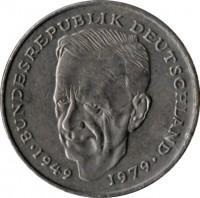 reverse of 2 Deutsche Mark - Kurt Schumacher (1979 - 1993) coin with KM# 149 from Germany. Inscription: BUNDESREPUBLIK DEUTSCHLAND 1949 1979