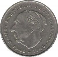 reverse of 2 Deutsche Mark - Theodor Heuss (1970 - 1987) coin with KM# A127 from Germany. Inscription: BUNDESREPUBLIK DEUTSCHLAND 1949 1969