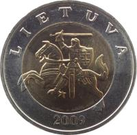 obverse of 5 Litai (1998 - 2014) coin with KM# 113 from Lithuania. Inscription: LIETUVA 2009